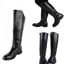 Mens Worker Military  Knee High Riding Zipper Boots Faux Leather Shoes