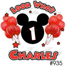 red mickey mouse face ears 1st-7 Birthday Shirt tee Custom NAME Age Personalized