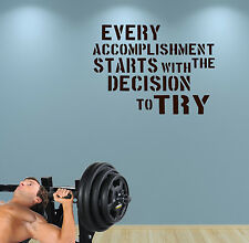 Accomplish Gym Wall Decal Motivate Quote Kettlebell Crossfit Workout Boxing Fit