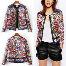 Vintage Ethnic Floral Print Embroidered Short Jacket Thin Padded Coat Outwear