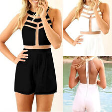 Sexy Womens Crew Neck Sleeveless Bodycon Jumpsuit&Romper Trousers Clubwear S-L