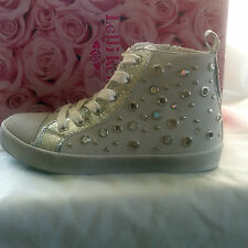 Lelli Kelly LK4254 High Top  various sizes White/Silver  BNWT SALE FREE DELIVERY