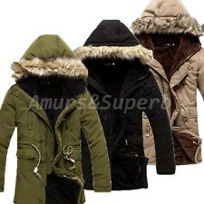 Mens Thick Long Parka Warm Hoode Coat Winter Outwear Trench Coat Overcoat Jacket