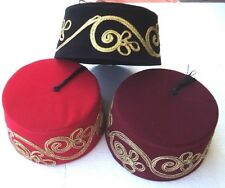 Embroidered Fez Fes Authentic Turkish Ottoman Hat Tarboosh Exotic Ottoman Wear