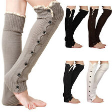 Girls Knee High Knit Flat Button Down Crochet Lace Trim Leg Warmers Boot Socks