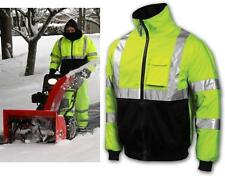 Hi Vis Class 3 Lime Safety Bomber Jacket With Zip Out Fleece Lining