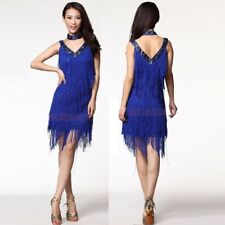 HJ01# Fringe Latin Dance Sequins V-neck 2 pcs Costume (Dress,Necklace) 9 Colors