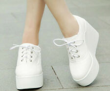 Womens Fashion Lace Up Wedge High Heel Platform Oxfords Casual College Shoes New
