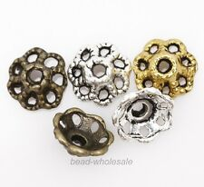 100Pcs Antique Silver/Gold/Bronze Tone Flower Shaped Alloy Bead Cap 9mm,Hot