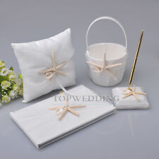 Organza Wedding Guest Book and Pen Set Ivory Ring Pillow Flower Basket Starfish