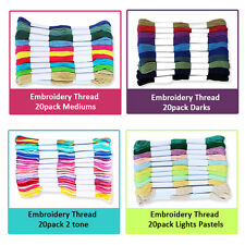 NEW 20 EMBROIDERY THREADS- Cotton Craft Cross Stitch Lot Machine Colours Floss