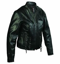 Women's 100% Genuine Leather Motorcycle Jacket Biker Coat Sizes S - XL