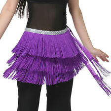 Belly Dance 3 Layers Fringe Hip Scarf / Belt 12 Colours
