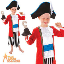Child Pirate Captain Hook Costume Boys Fancy Dress Outfit Book Week New Age 3-8