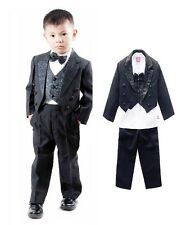 5PCS Boys Children Formal Suit Wedding Tuxedo with Tails 4-10Y #N009