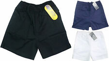Kids PE Gym School Sports Cotton Shorts Black, Navy & White 5 to 14 Years