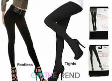 Womens Winter Thermal Tights Ladies Thick Fleece Lined Black Footless Tights