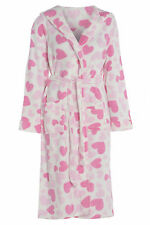 Ladies White Hooded Fleece Pink Heart Dressing Gown Size 10 12 14 16 18 20 22 24