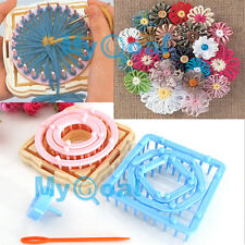 9pcs 6 Size Knitting Knit Flower Pattern Tassels Loom Craft Maker Yarn Kit Set
