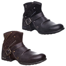 MENS REPLAY LEATHER ZIP UP BIKER COWBOY BUCKLE MILITARY ANKLE BOOTS SIZE 7-12
