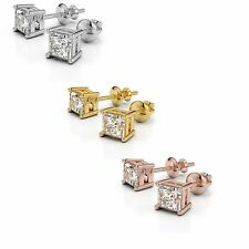 0.90CT Studs F/VS2 Princess Natural Diamonds White/Yellow 14k/18k Gold Earrings