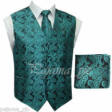 Mermaid Green Paisley Tuxedo Suit Dress Vest Waistcoat & Neck tie And Hankie Set