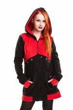 Poizen Industries Move Hood Ladies Black Red Goth Emo Punk Stitched Winter