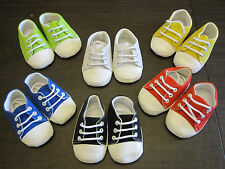 Baby BOY Girl CRIB SHOES Classic Canvas SNEAKERS Solid BLACK RED BLUE LIME WHITE