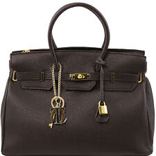 TUSCANY LEATHER handbag with golden hardware rigid structure made in Italy