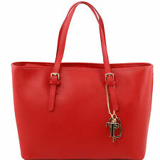 TUSCANY LEATHER saffiano leather shopping bag with two handles made in Florence