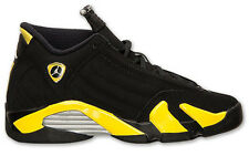 JORDAN RETRO 14 THUNDER BLACK VIBRANT YELLOW GS SZ 4-7 Y * 487524-070 *