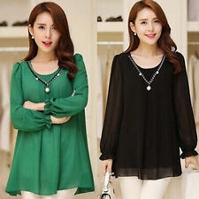 New WOMENS Lady CASUAL CHIFFON TOP BLOUSE LONG SLEEVE Fashion Loose SHIRT