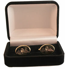 PARAWINGS PARACHUTE WINGS CREST ENGRAVED CUFFLINKS, GOLD OR SILVER NEW