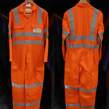 """Used Orange High Visibility Overalls with Knee & Leg Pockets– 39"""" to 55"""" Sizes"""