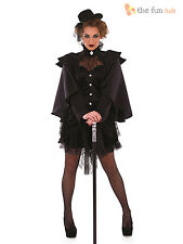 Size 8-22 Ladies Sexy Victorian Widow Womens Halloween Fancy Dress Costume