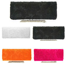 New Lace Satin Evening Clutch Bag Wedding Prom Party White Black Orang Pink