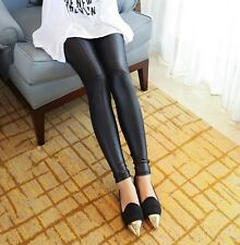 Sexy Women Faux Leather Skinny Stretch High Waisted Tight Pants Leggings
