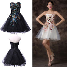 HOT~CHEAP~Tea Length Peacock Homecoming Cocktail Evening Prom Formal Short Dress