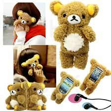 Cute 3D Teddy Bear Cool Plush Toy Doll Cover Case For Samsung iPhone + Earphone