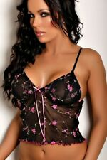 Sexy Black Floral Embroidered Camisole Lingerie | Size 12 14 16 | #FLC