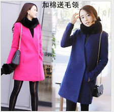 Fashion Women Cocoon-shaped Cashmere Plus Cotton Thick Trench Coat( Fur Collar )