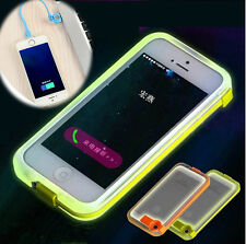 USB Charge Cable LED Flash Light UP PC Cover Case For Iphone 4 4S 5 5S 6 6 Plus