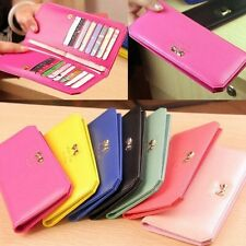 Women Leather Pretty Bowknot Clutch Long Wallet Card Case Purse Handbag Bifold