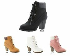 NEW Women Faux Nubuck Lace Up High Top Lug Sole Stacked Heel Ankle Boots Bootie