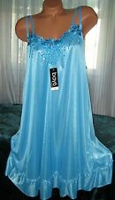 Blue Semi Sheer Nightgown Slip Chemise 1X 3X Silky Plus Size Gowns