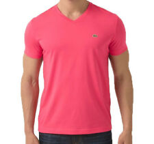 NEW AUTHENTIC LACOSTE CROC PIMA V-NECK MEN'S ROSE MADRAS PINK T-SHIRT TEE TH6604