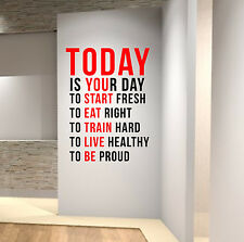 TODAY IS YOUR DAY Gym Motivational Wall Decal Quote Crossfit Fitness Workout MMA