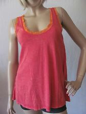 New AWAKE COUTURE Womens Red Casual Vintage Scoop Lace Knit Tank Top Shirt $49