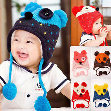 New Crochet Baby Toddler Infant Bear Winter Thicken Hat Cap Ears Protect Earflap