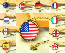 NEW Fashion Jewelry Charm Flag Crystal Glass Pendant Tree Alloy Necklaces U Pick